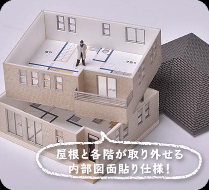 屋根と各階が取り外せる内部図面貼り仕様!